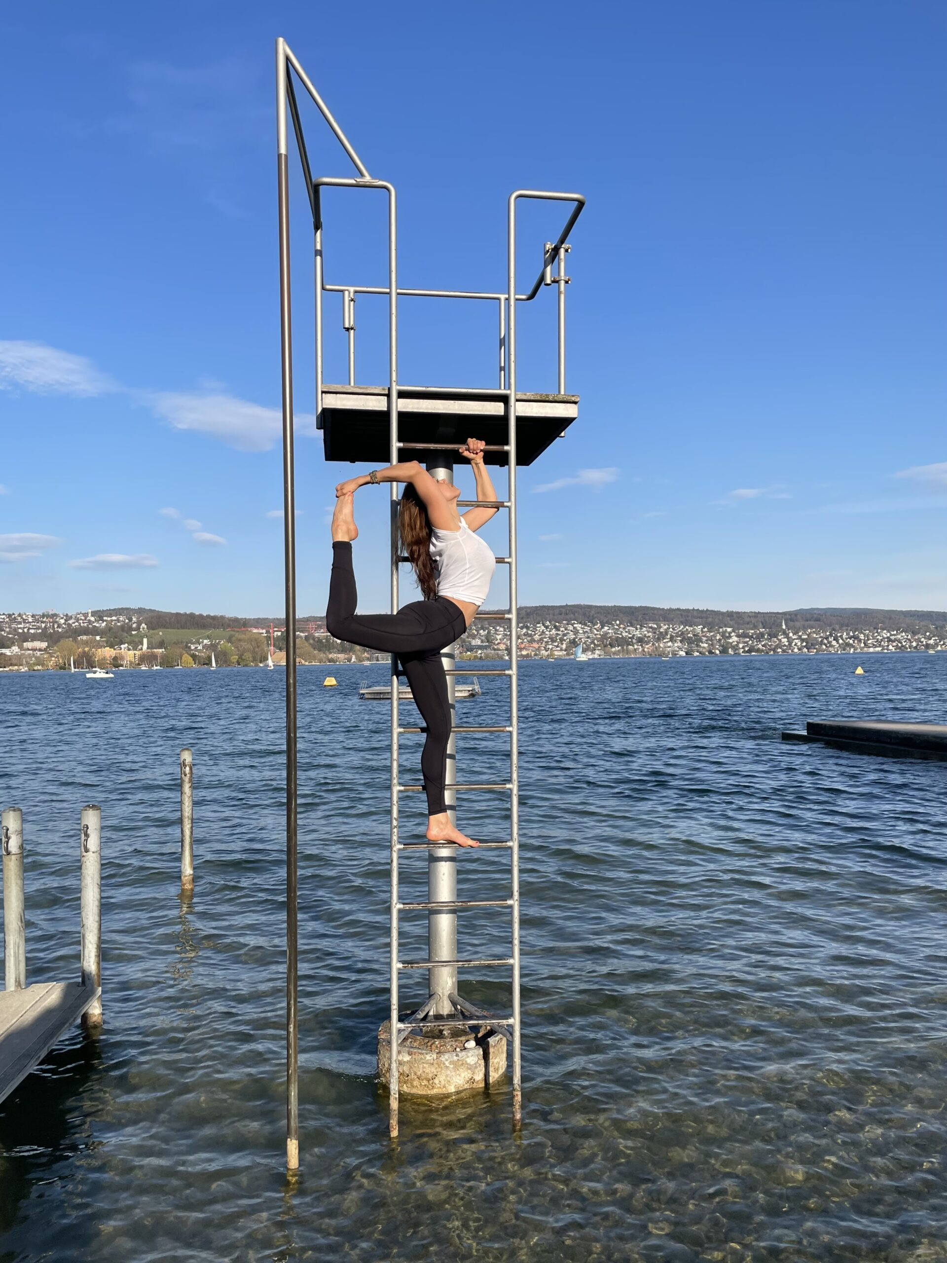 Yoga at lake Zurich